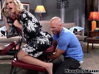 Massaged milf Simone Sonay swallows cum