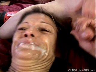 Kinky old spunker loves huge toys & sticky facial cumshots