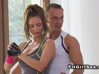 Redhead Asian babe licked by fitness coach