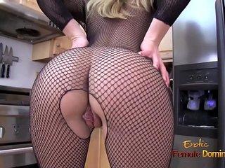 Blonde MILF ripping off her full body fishnet stockings